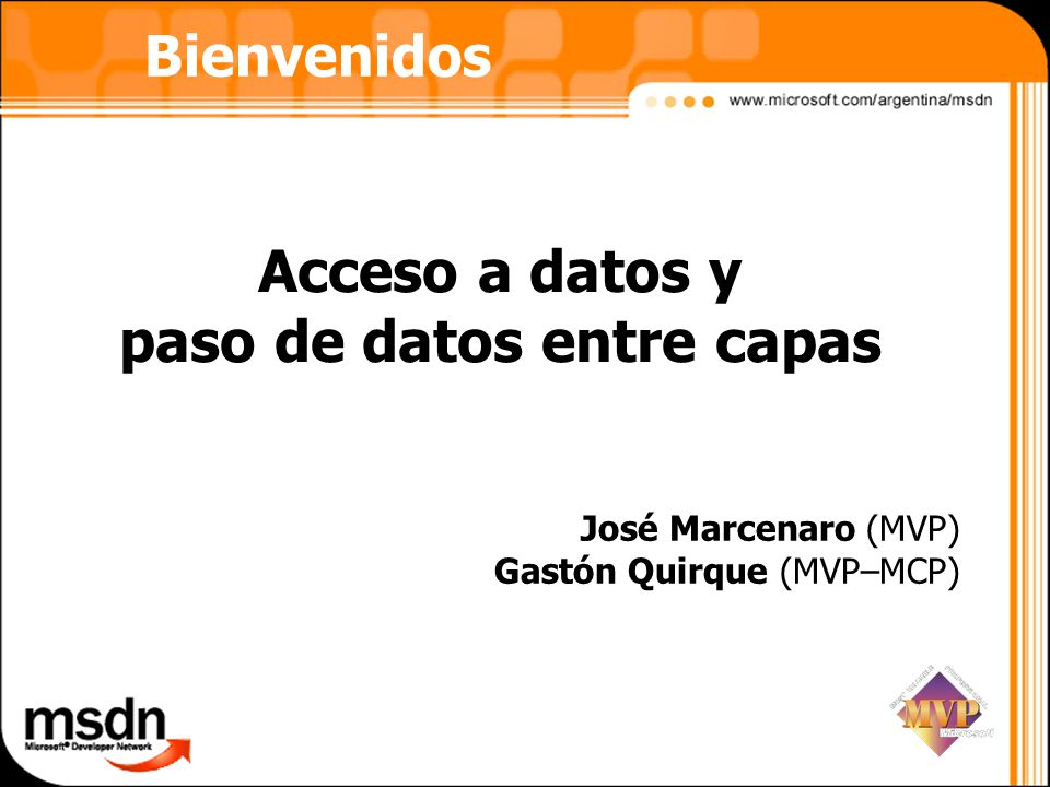 Acceso a datos y paso de datos entre capas
