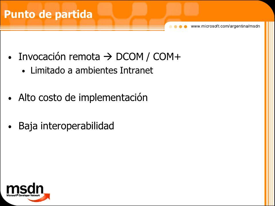 Punto de partida Invocación remota  DCOM / COM+
