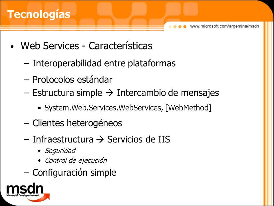 Tecnologías Web Services - Características