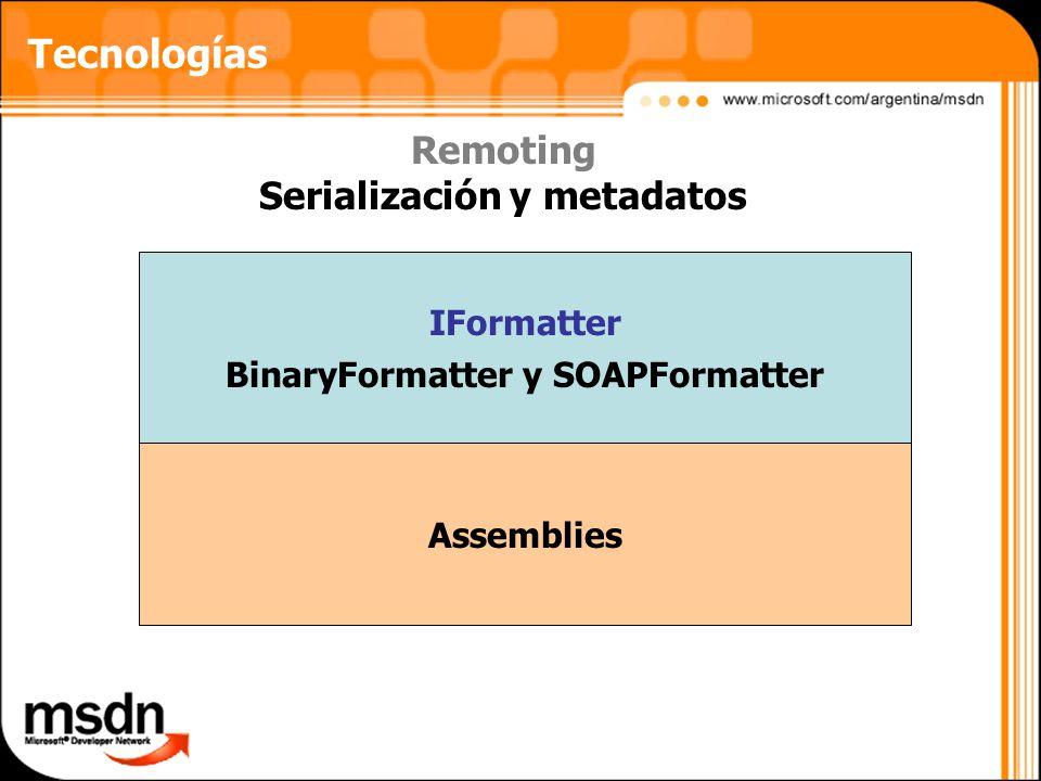 Serialización y metadatos BinaryFormatter y SOAPFormatter