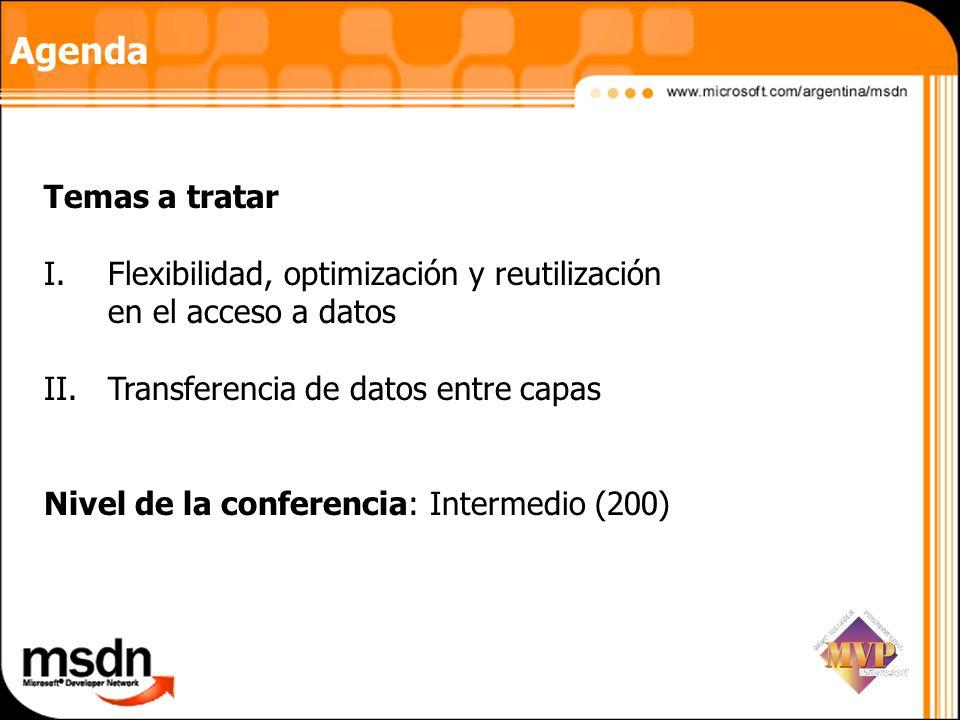 Agenda Temas a tratar. Flexibilidad, optimización y reutilización en el acceso a datos. Transferencia de datos entre capas.