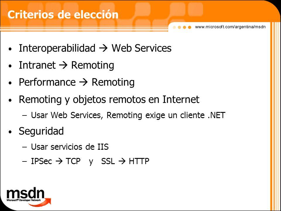 Criterios de elección Interoperabilidad  Web Services