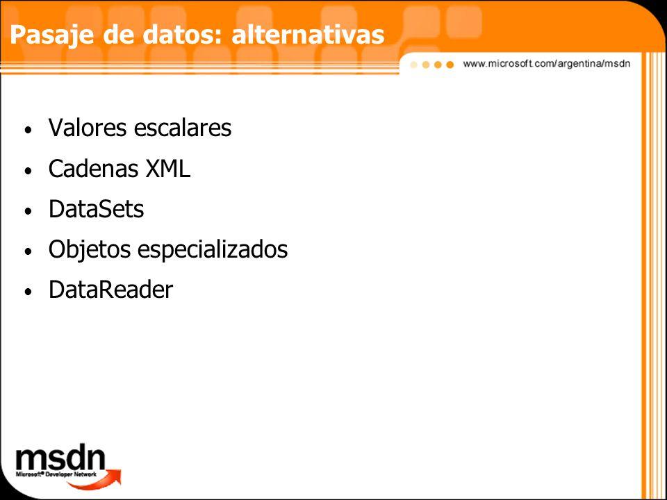 Pasaje de datos: alternativas