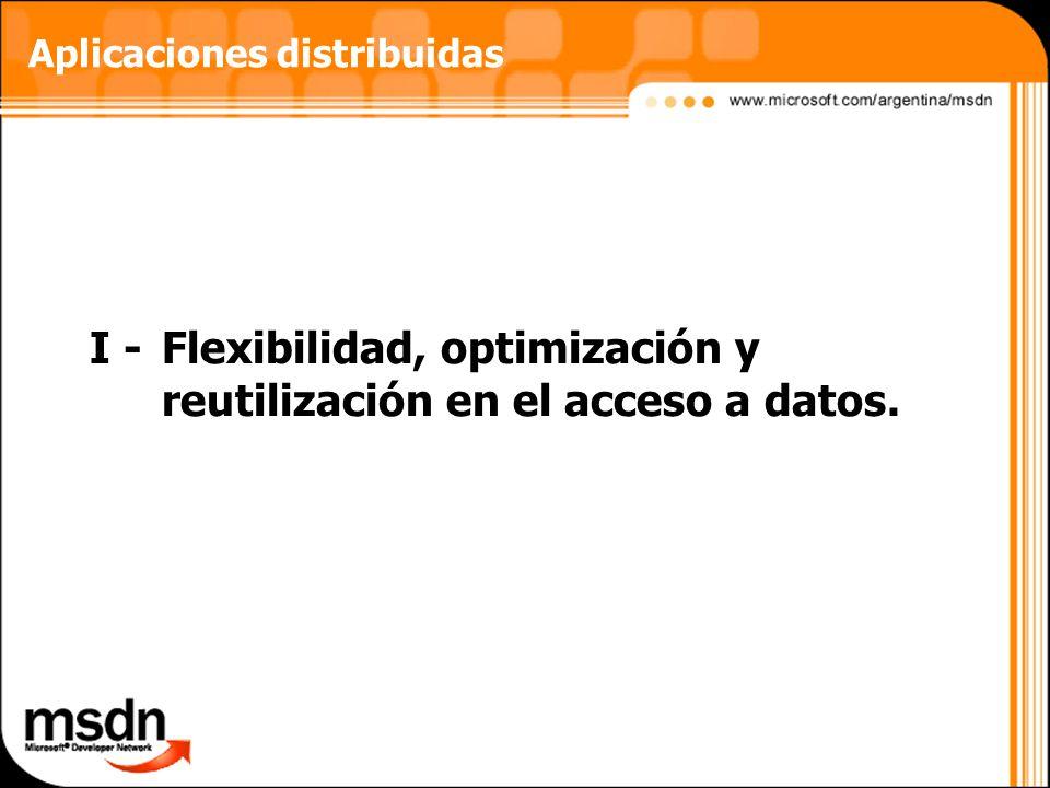 I - Flexibilidad, optimización y reutilización en el acceso a datos.