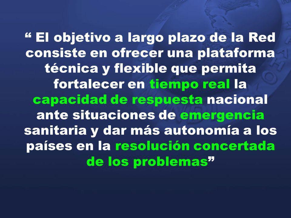 El objetivo a largo plazo de la Red consiste en ofrecer una plataforma técnica y flexible que permita fortalecer en tiempo real la capacidad de respuesta nacional ante situaciones de emergencia sanitaria y dar más autonomía a los países en la resolución concertada de los problemas