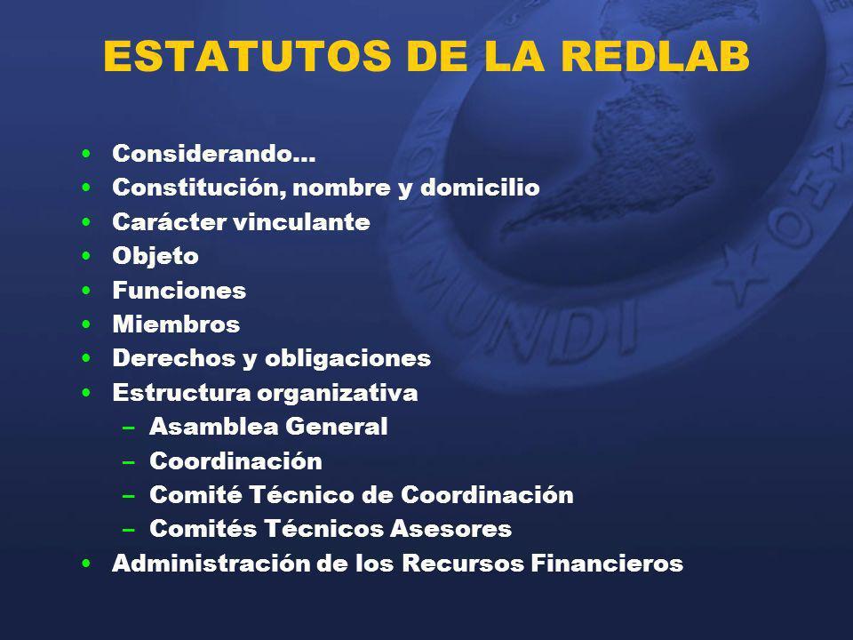 ESTATUTOS DE LA REDLAB Considerando… Constitución, nombre y domicilio