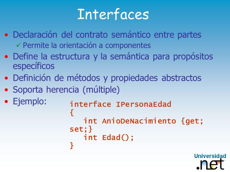 Interfaces Declaración del contrato semántico entre partes