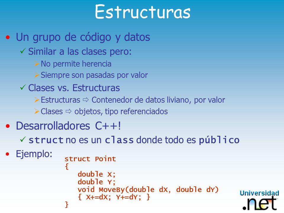 Estructuras Un grupo de código y datos Desarrolladores C++!