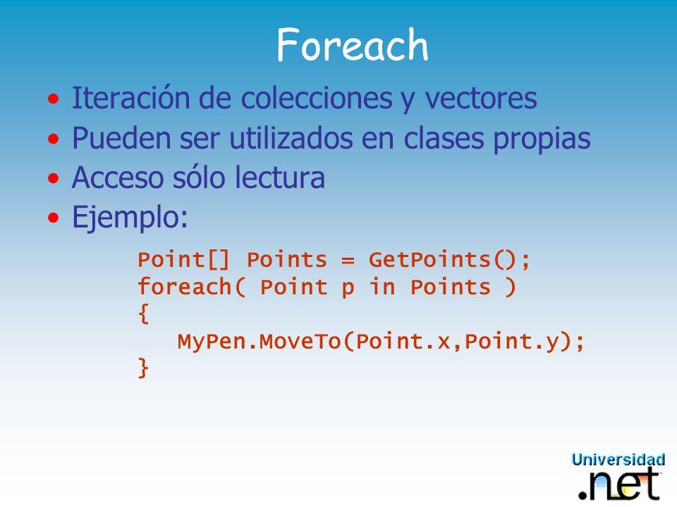 Foreach Iteración de colecciones y vectores
