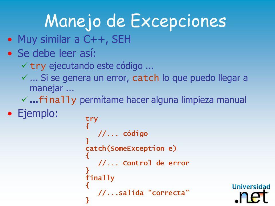 Manejo de Excepciones Muy similar a C++, SEH Se debe leer así: