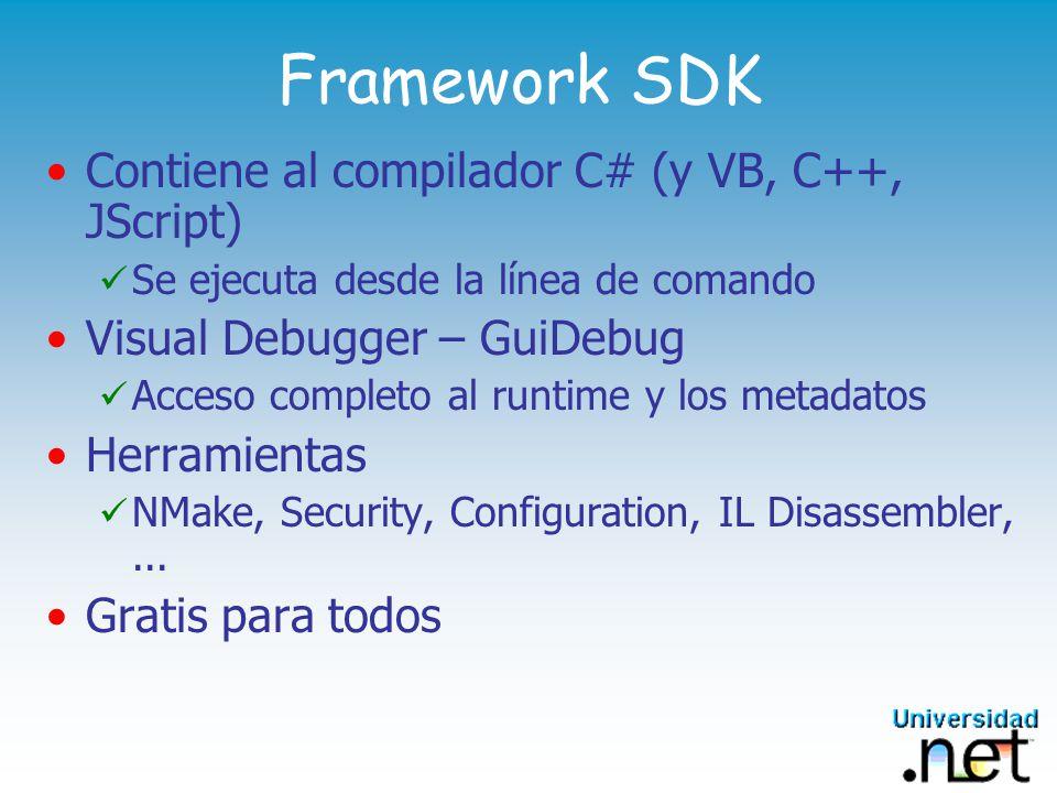 Framework SDK Contiene al compilador C# (y VB, C++, JScript)