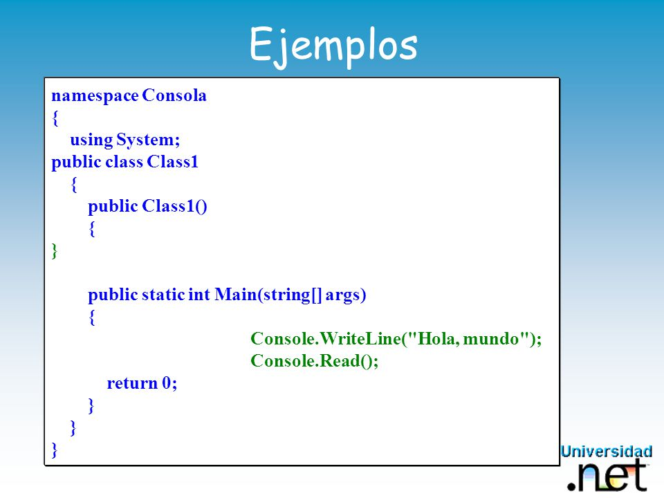 Ejemplos Hola mundo namespace Consola { using System;