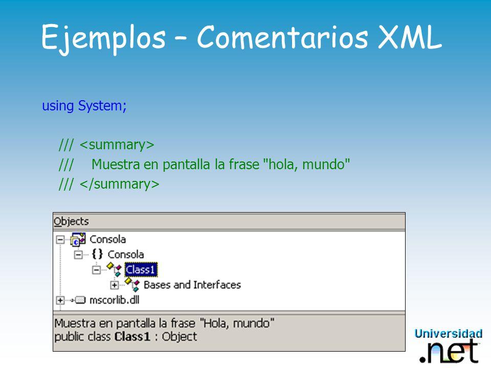 Ejemplos – Comentarios XML