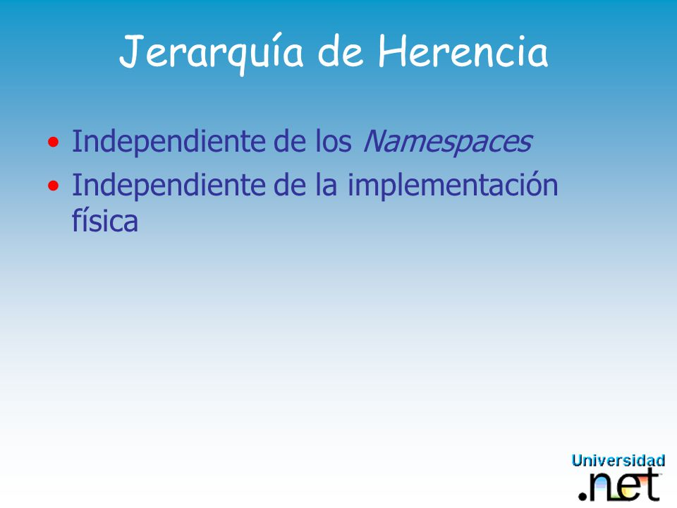 Jerarquía de Herencia Independiente de los Namespaces