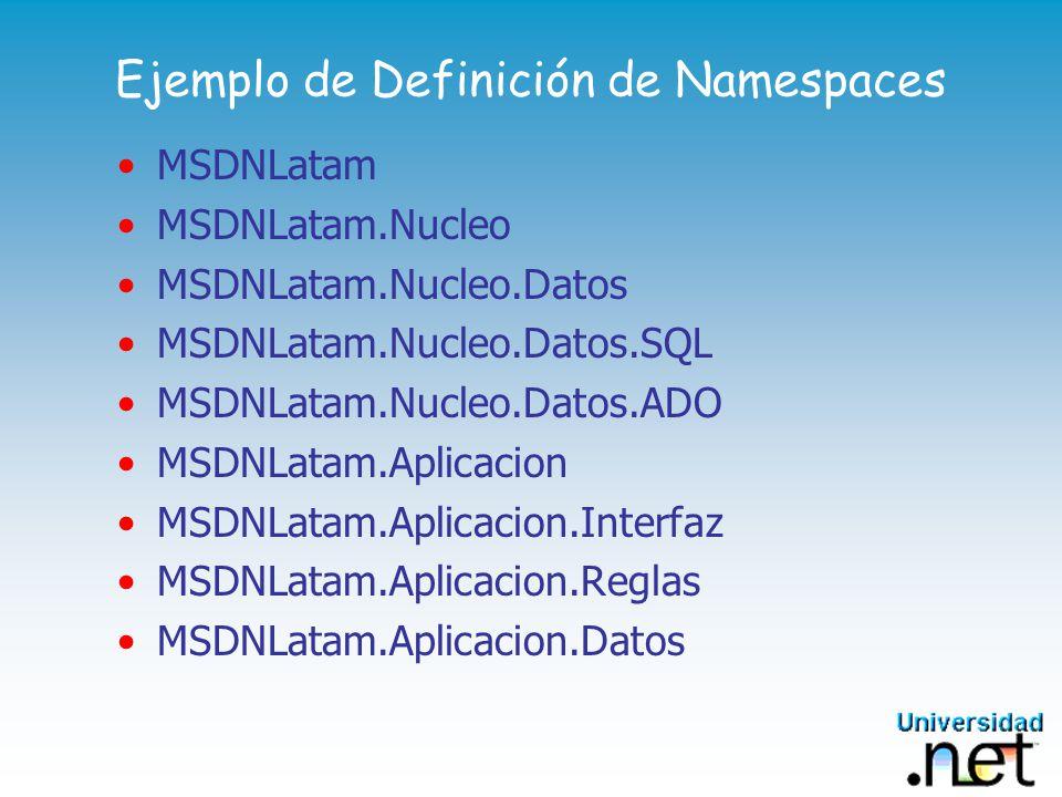 Ejemplo de Definición de Namespaces