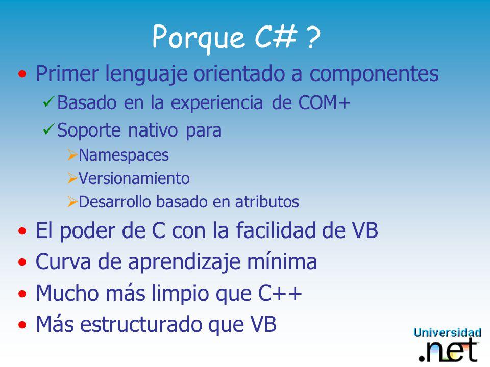 Porque C# Primer lenguaje orientado a componentes