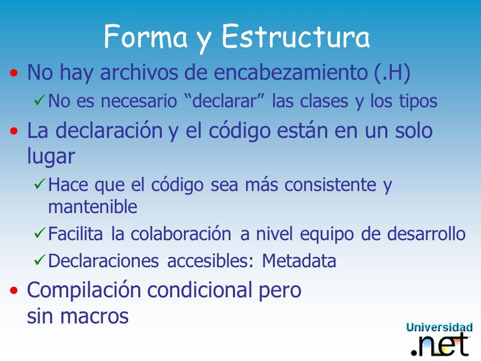 Forma y Estructura No hay archivos de encabezamiento (.H)