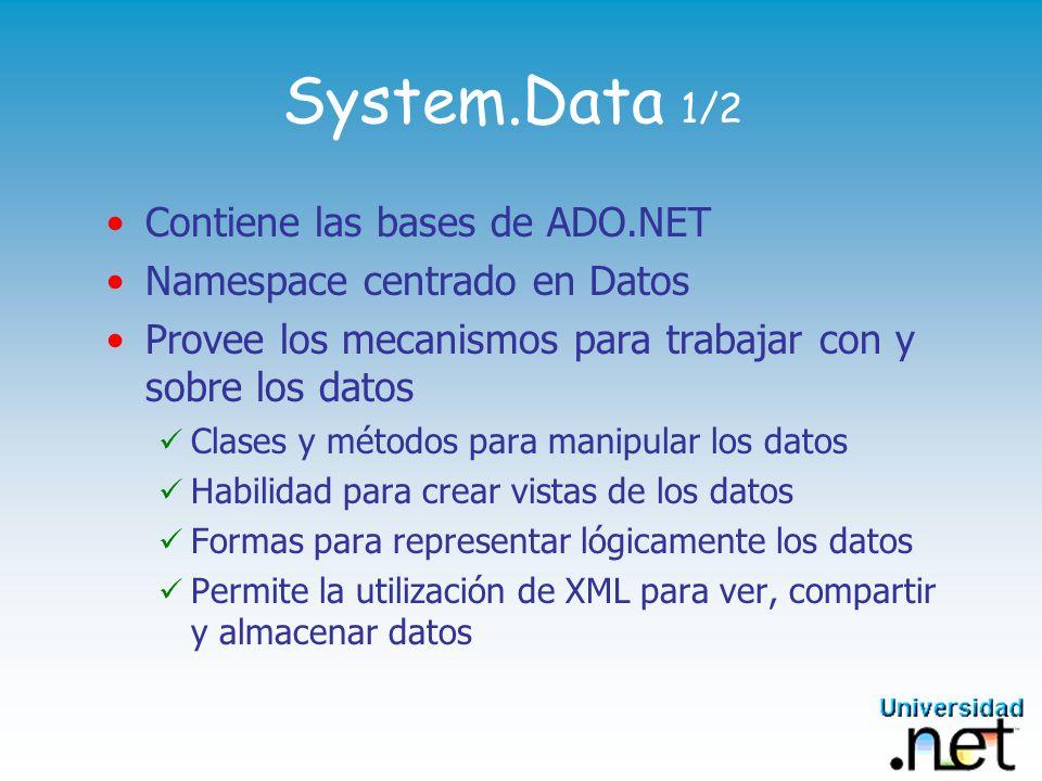 System.Data 1/2 Contiene las bases de ADO.NET