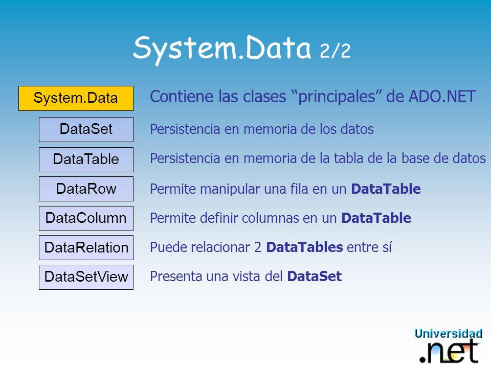 System.Data 2/2 Contiene las clases principales de ADO.NET