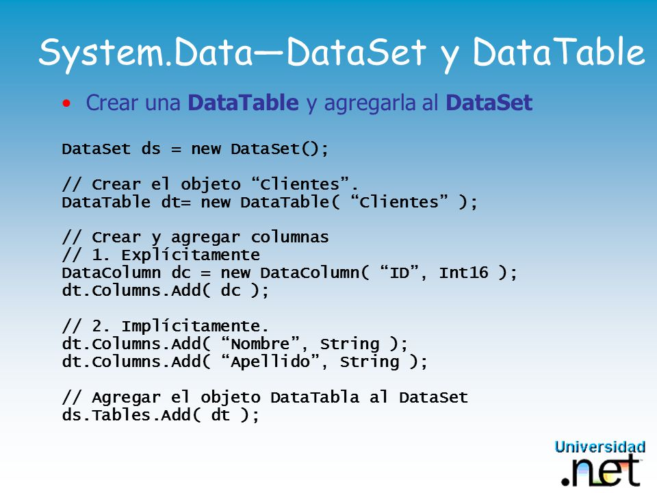 System.Data—DataSet y DataTable