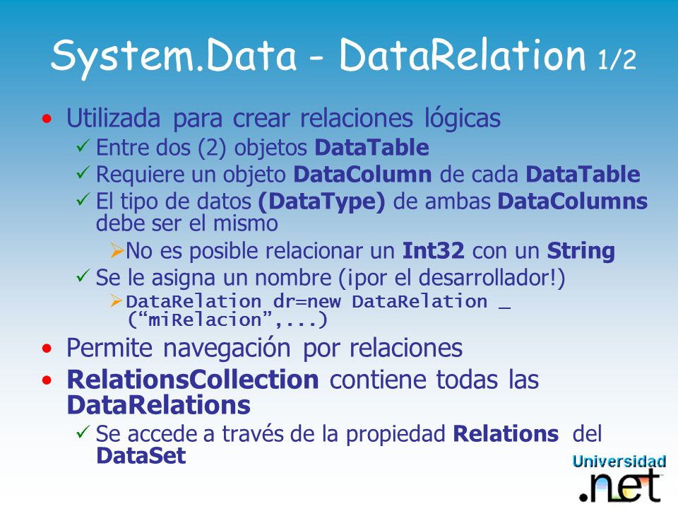 System.Data - DataRelation 1/2