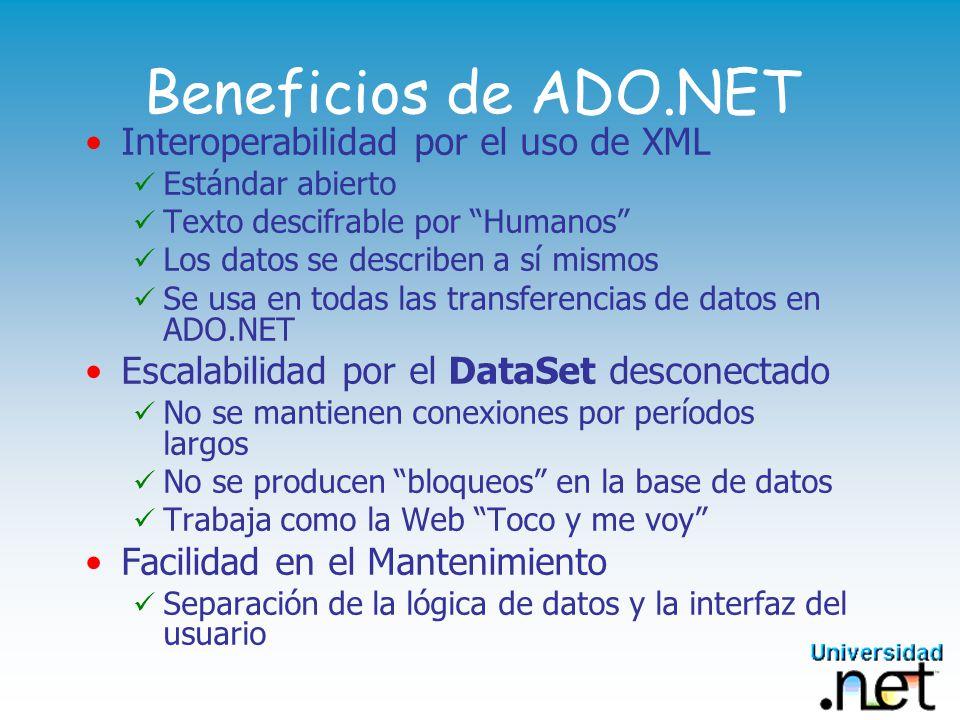 Beneficios de ADO.NET Interoperabilidad por el uso de XML