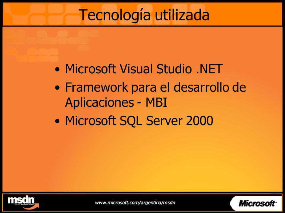 Tecnología utilizada Microsoft Visual Studio .NET