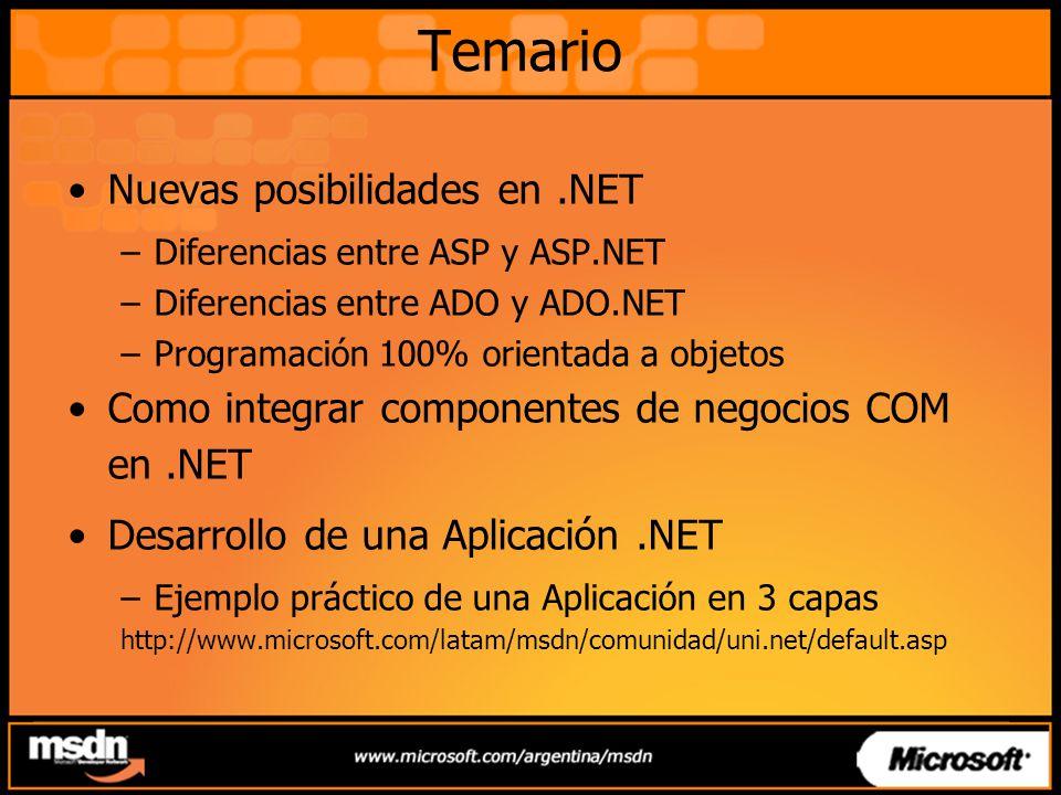 Temario Nuevas posibilidades en .NET