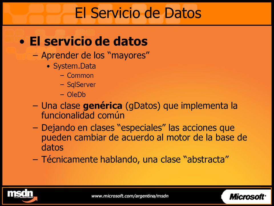 El Servicio de Datos El servicio de datos Aprender de los mayores