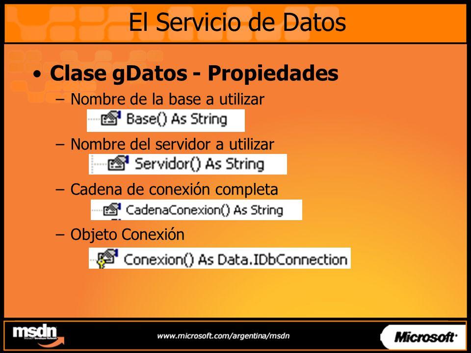 El Servicio de Datos Clase gDatos - Propiedades
