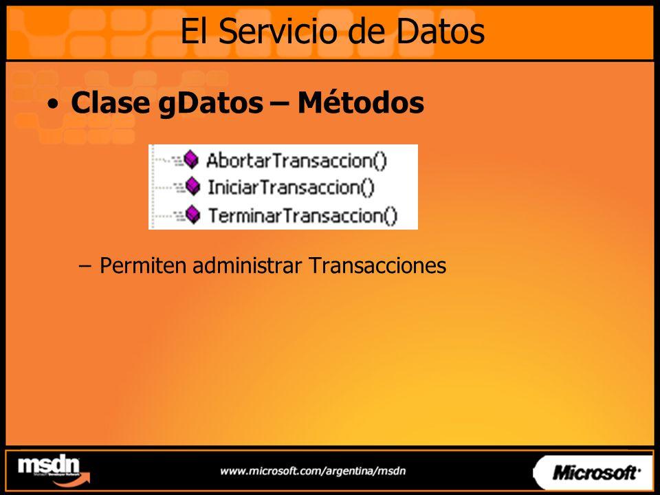 El Servicio de Datos Clase gDatos – Métodos
