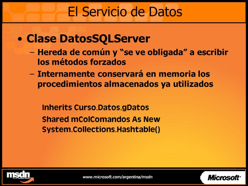 El Servicio de Datos Clase DatosSQLServer
