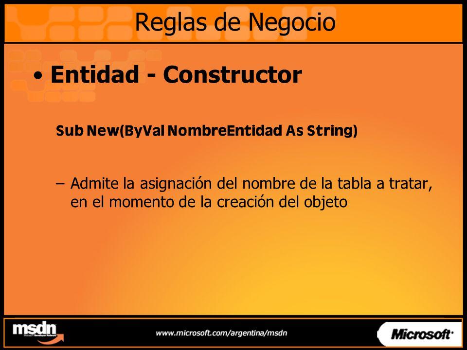 Reglas de Negocio Entidad - Constructor