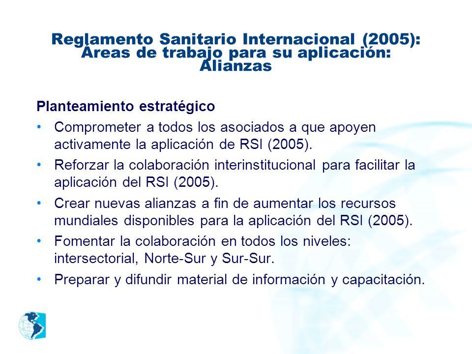 Reglamento Sanitario Internacional (2005): Áreas de trabajo para su aplicación: Alianzas