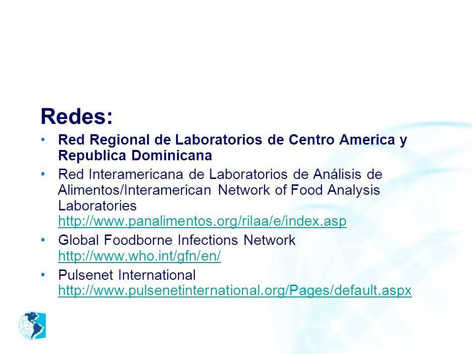 Redes: Red Regional de Laboratorios de Centro America y Republica Dominicana.