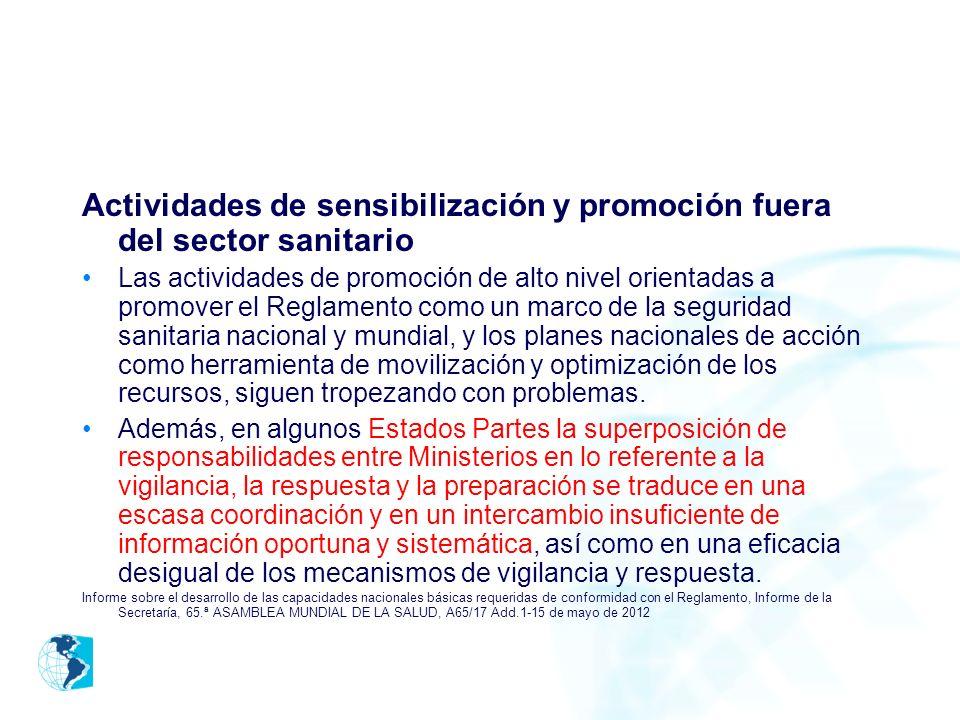 Actividades de sensibilización y promoción fuera del sector sanitario