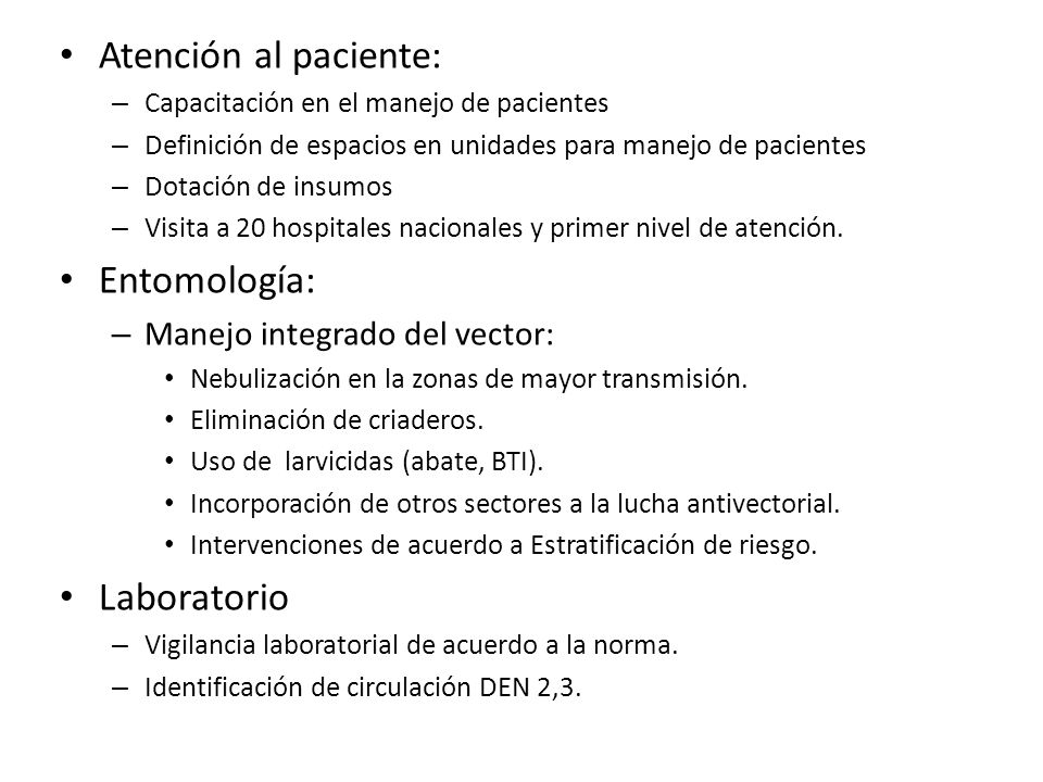 Atención al paciente: Entomología: Laboratorio