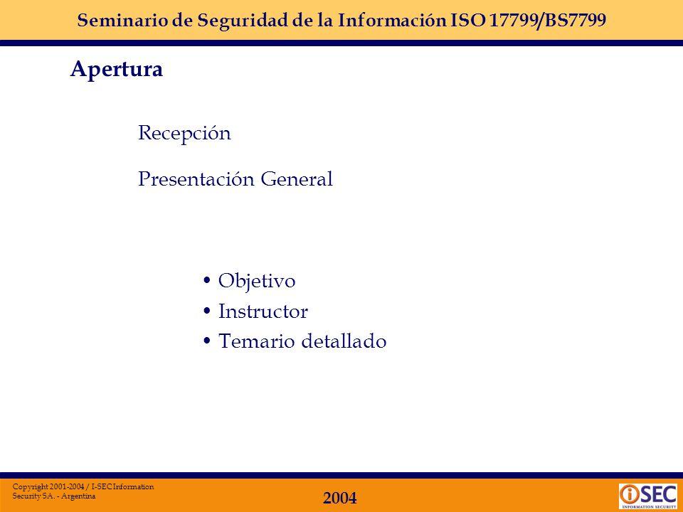Apertura Recepción Presentación General Objetivo Instructor