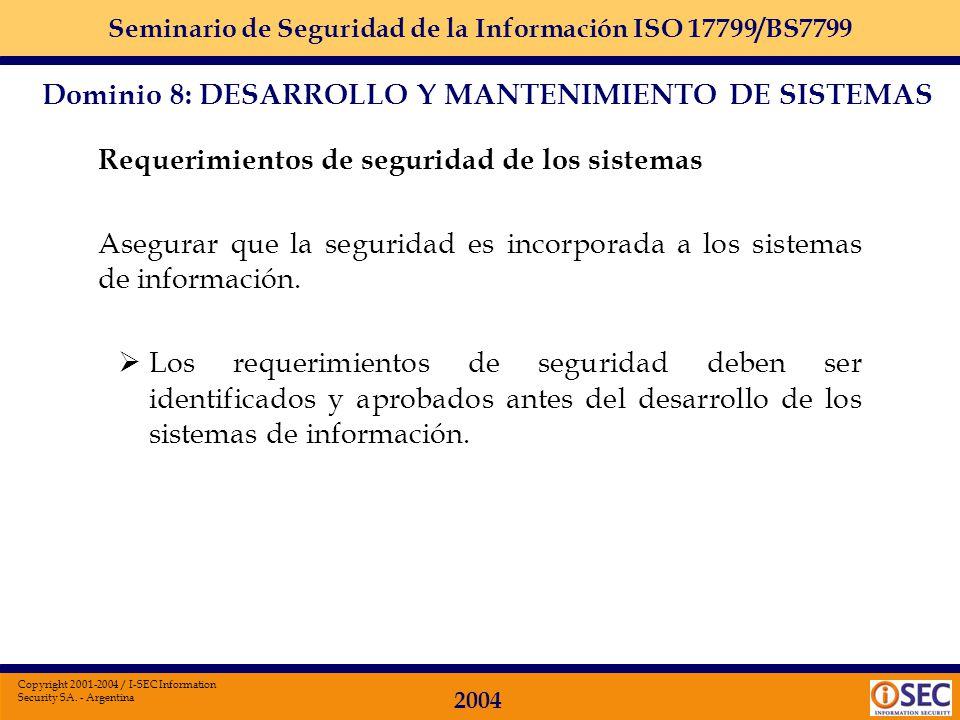 Dominio 8: DESARROLLO Y MANTENIMIENTO DE SISTEMAS