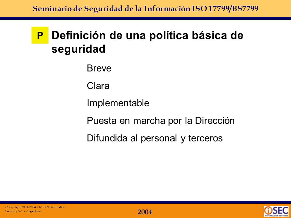 Definición de una política básica de seguridad