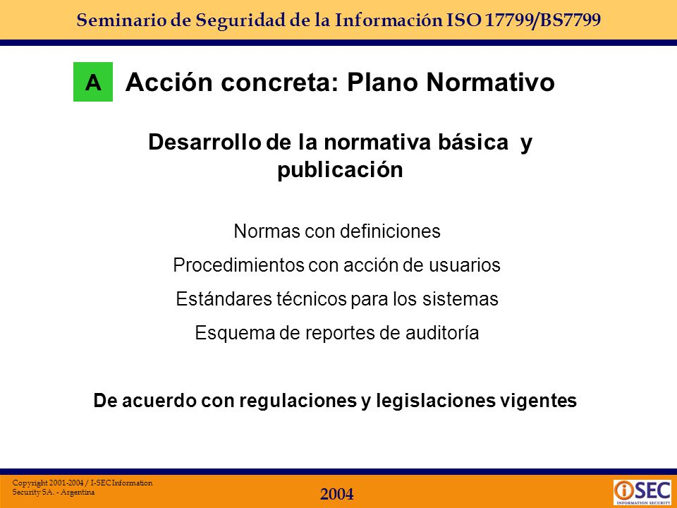 Acción concreta: Plano Normativo