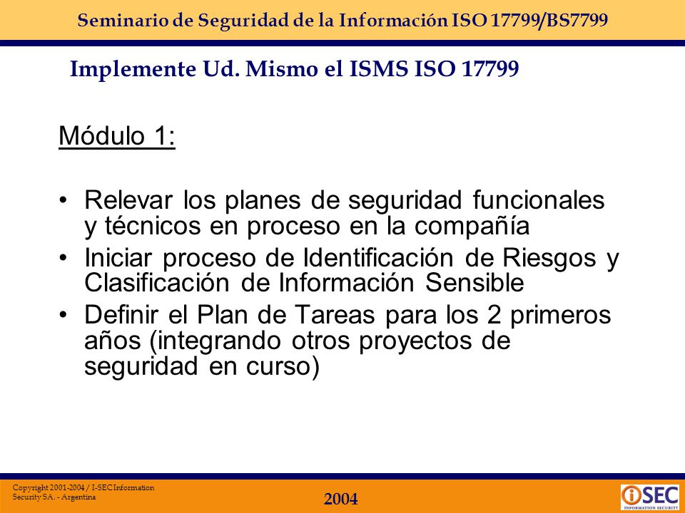 Implemente Ud. Mismo el ISMS ISO 17799