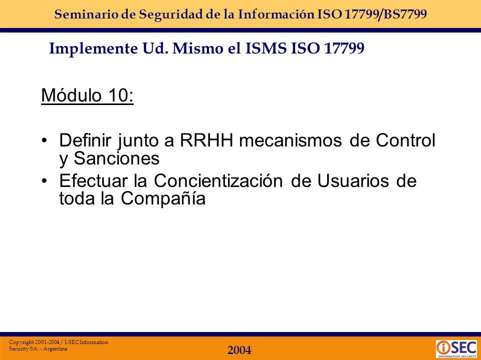 Definir junto a RRHH mecanismos de Control y Sanciones
