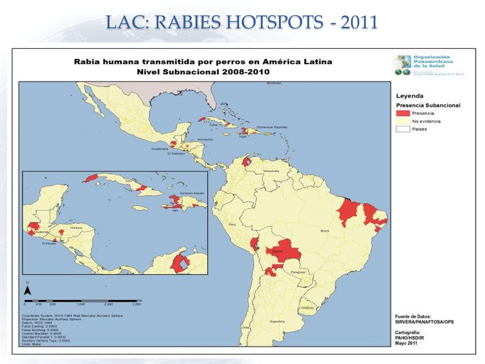 LAC: RABIES HOTSPOTS - 2011 Numero de casos en el slide anterior 13 13
