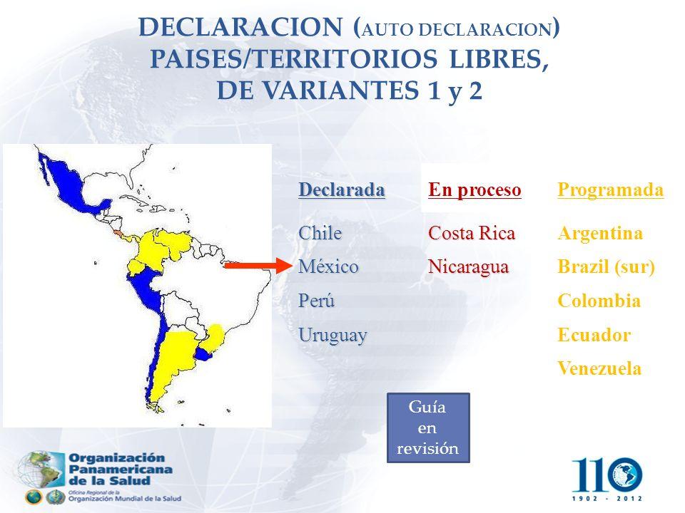 DECLARACION (AUTO DECLARACION) PAISES/TERRITORIOS LIBRES, DE VARIANTES 1 y 2
