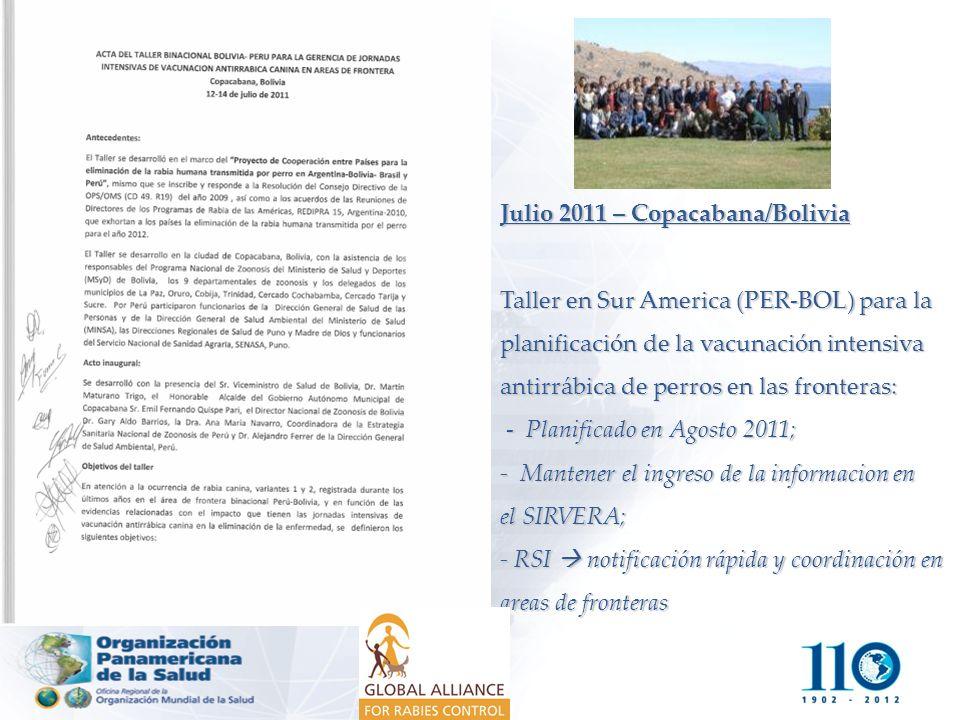 Julio 2011 – Copacabana/Bolivia Taller en Sur America (PER-BOL) para la planificación de la vacunación intensiva antirrábica de perros en las fronteras: - Planificado en Agosto 2011; - Mantener el ingreso de la informacion en el SIRVERA; - RSI  notificación rápida y coordinación en areas de fronteras