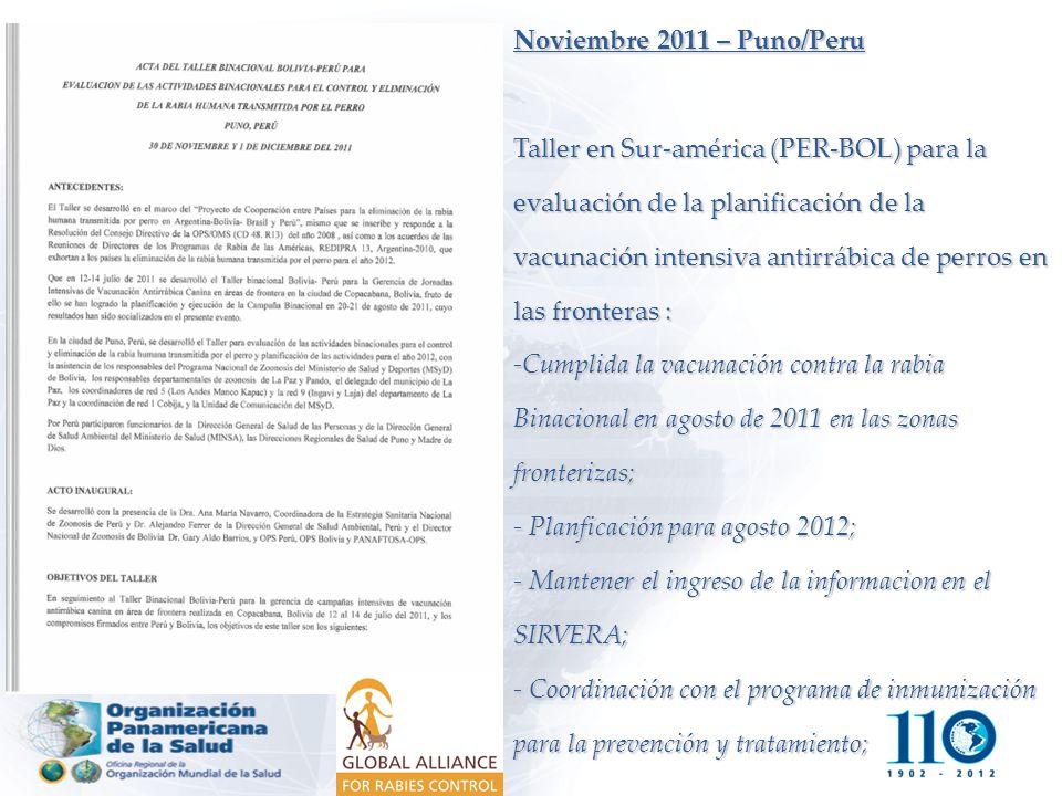 Noviembre 2011 – Puno/Peru Taller en Sur-américa (PER-BOL) para la evaluación de la planificación de la vacunación intensiva antirrábica de perros en las fronteras : -Cumplida la vacunación contra la rabia Binacional en agosto de 2011 en las zonas fronterizas; - Planficación para agosto 2012; - Mantener el ingreso de la informacion en el SIRVERA; - Coordinación con el programa de inmunización para la prevención y tratamiento;