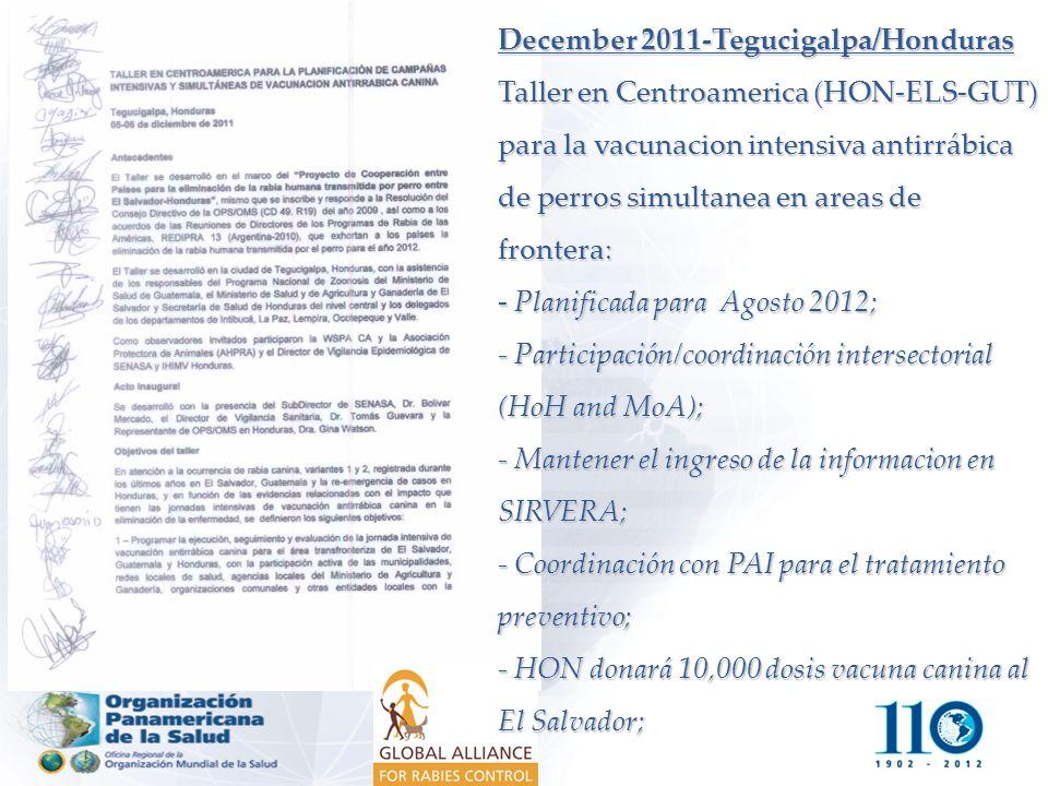 December 2011-Tegucigalpa/Honduras Taller en Centroamerica (HON-ELS-GUT) para la vacunacion intensiva antirrábica de perros simultanea en areas de frontera: - Planificada para Agosto 2012; - Participación/coordinación intersectorial (HoH and MoA); - Mantener el ingreso de la informacion en SIRVERA; - Coordinación con PAI para el tratamiento preventivo; - HON donará 10,000 dosis vacuna canina al El Salvador;