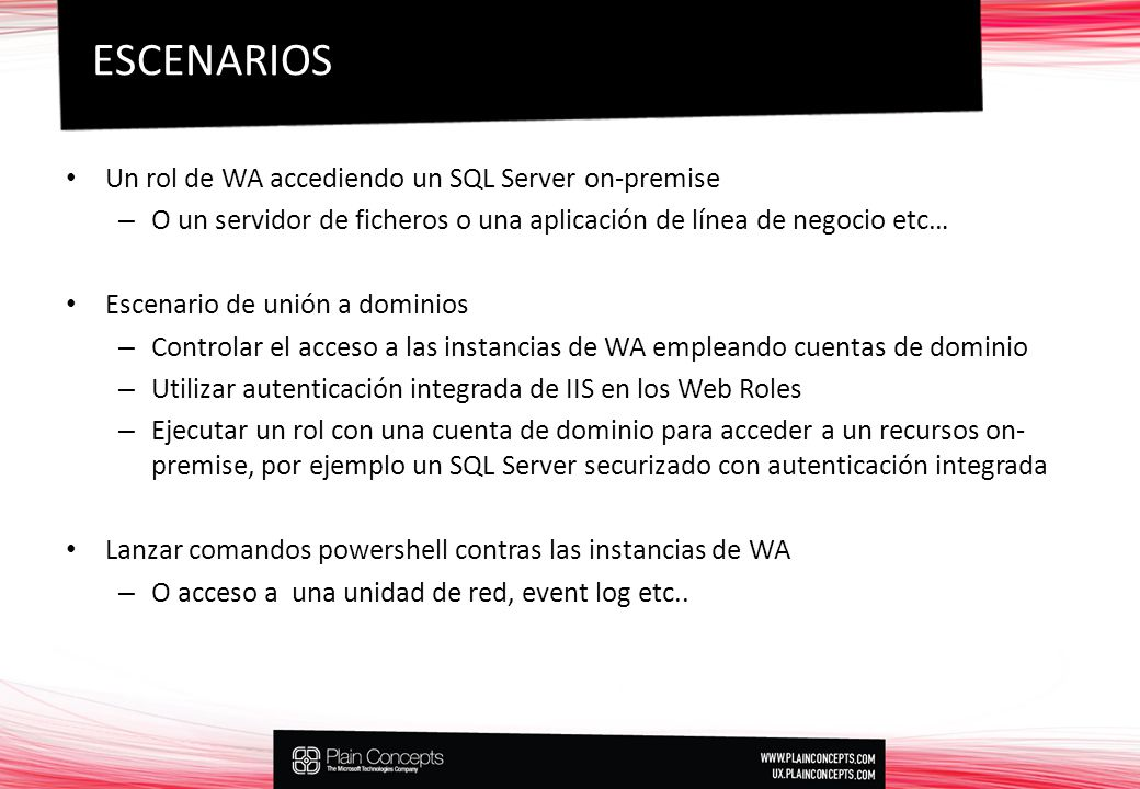 ESCENARIOS Un rol de WA accediendo un SQL Server on-premise