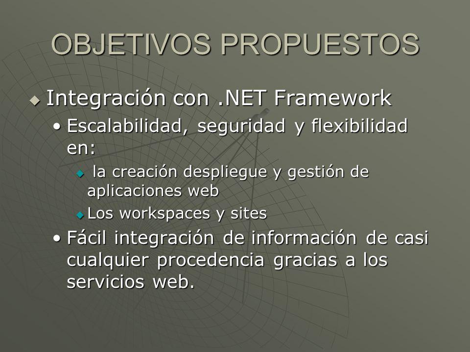 OBJETIVOS PROPUESTOS Integración con .NET Framework